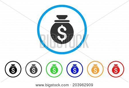 Money Bag icon. Vector illustration style is a flat iconic money bag gray rounded symbol inside light blue circle with black, gray, green, blue, red, orange color additional versions.