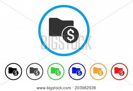 Money Folder icon. Vector illustration style is a flat iconic money folder grey rounded symbol inside light blue circle with black, gray, green, blue, red, orange color additional versions.