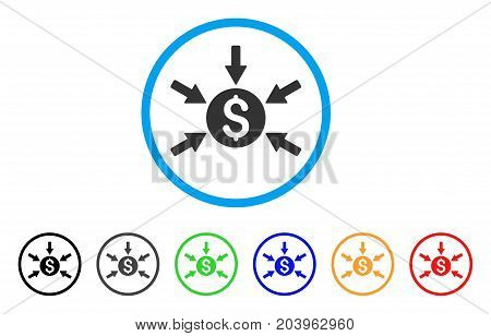Money Income icon. Vector illustration style is a flat iconic money income grey rounded symbol inside light blue circle with black, gray, green, blue, red, orange color versions.