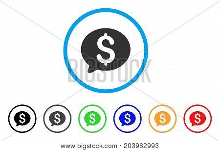 Money Message icon. Vector illustration style is a flat iconic money message grey rounded symbol inside light blue circle with black, gray, green, blue, red, orange color versions.