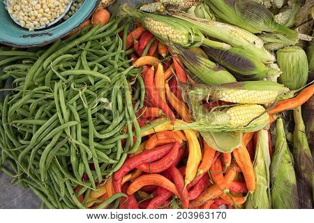 mixture of fresh vegetables in Otavalo Ecuador