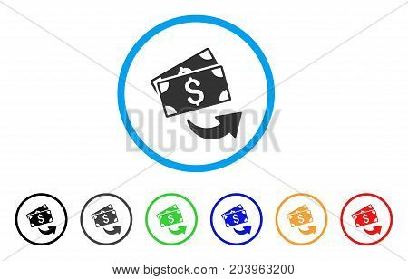 Send Money icon. Vector illustration style is a flat iconic send money gray rounded symbol inside light blue circle with black, gray, green, blue, red, orange color additional versions.