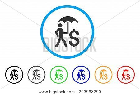 Walking Businessman With Umbrella icon. Vector illustration style is a flat iconic walking businessman with umbrella gray rounded symbol inside light blue circle with black, gray, green, blue, red,