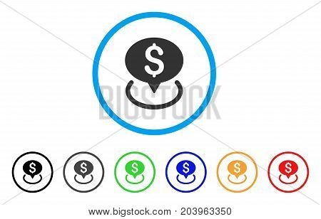 Bank Location icon. Vector illustration style is a flat iconic bank location grey rounded symbol inside light blue circle with black, gray, green, blue, red, orange color variants.
