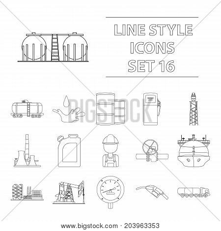 Oil industry set icons in outline design. Big collection of oil industry vector symbol stock illustration