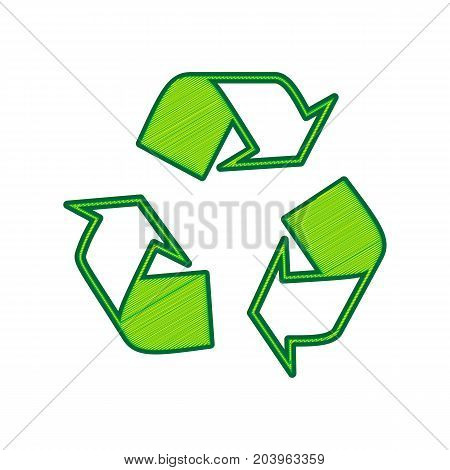 Recycle logo concept. Vector. Lemon scribble icon on white background. Isolated