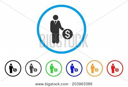 Banker icon. Vector illustration style is a flat iconic banker gray rounded symbol inside light blue circle with black, gray, green, blue, red, orange color additional versions.