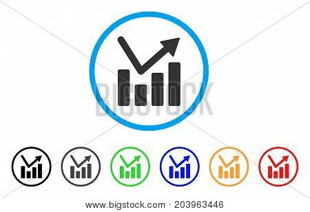 Bar Chart Trend icon. Vector illustration style is a flat iconic bar chart trend gray rounded symbol inside light blue circle with black, gray, green, blue, red, orange color additional versions.