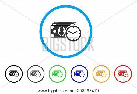 Cash Credit icon. Vector illustration style is a flat iconic cash credit gray rounded symbol inside light blue circle with black, gray, green, blue, red, orange color additional versions.