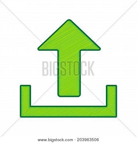 Upload sign illustration. Vector. Lemon scribble icon on white background. Isolated
