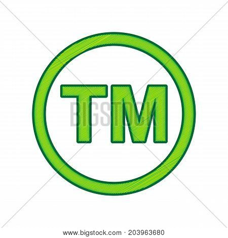 Trade mark sign. Vector. Lemon scribble icon on white background. Isolated