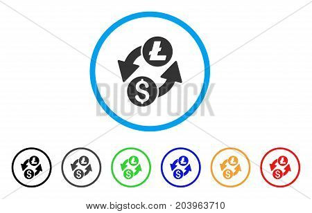 Dollar Litecoin Exchange icon. Vector illustration style is a flat iconic dollar litecoin exchange gray rounded symbol inside light blue circle with black, gray, green, blue, red,