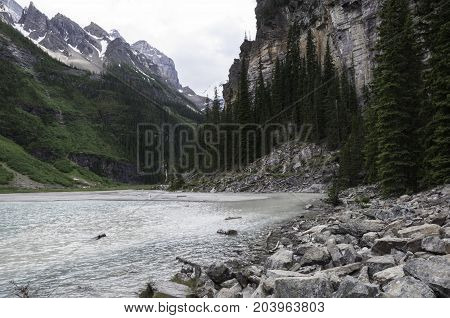 Lake Louise in Alberta, Canada viewed from the walking path