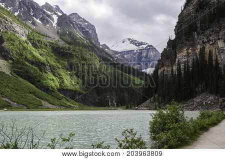 Lake Louise in Alberta Canada viewed from the walking path
