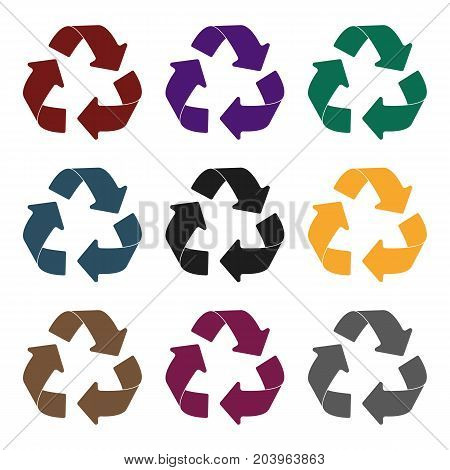 Green recycling sign icon in black design isolated on white background. Bio and ecology symbol stock vector illustration.