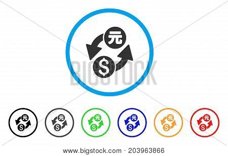 Dollar Yuan Exchange icon. Vector illustration style is a flat iconic dollar yuan exchange grey rounded symbol inside light blue circle with black, gray, green, blue, red,