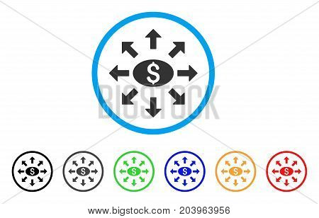 Mass Cashout icon. Vector illustration style is a flat iconic mass cashout grey rounded symbol inside light blue circle with black, gray, green, blue, red, orange color variants.