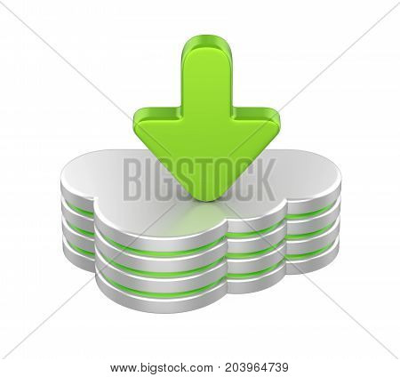 Cloud Computing Symbol isolated on white background. 3D render