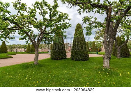 Peterhof, Russia - June 03. 2017. the garden of Venus and the Earth Wall in the museum reserve