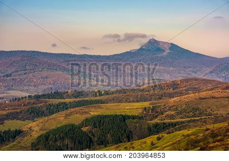 High Mountain Peak Behind The Hills