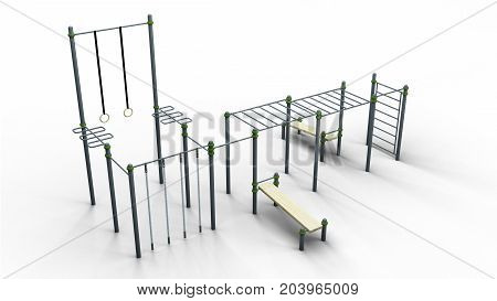 street sport rack complex 4 isolated on a white background 3d illustration render