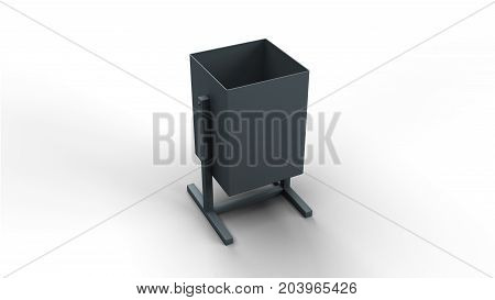 Trash basket isolated on white background 3d illustration render