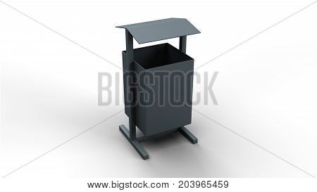 Trash basket with roof isolated on white background 3d illustration render