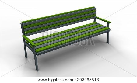 park bench with railings isolated on a white background 3d illustration render