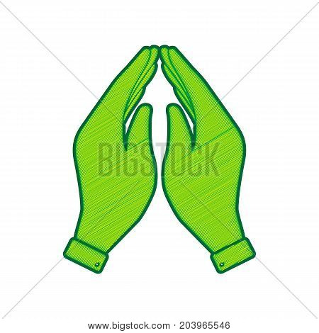 Hand icon illustration. Prayer symbol. Vector. Lemon scribble icon on white background. Isolated