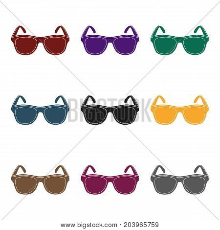 Yellow trendy sunglasses icon in black design isolated on white background. Brazil country symbol stock vector illustration.