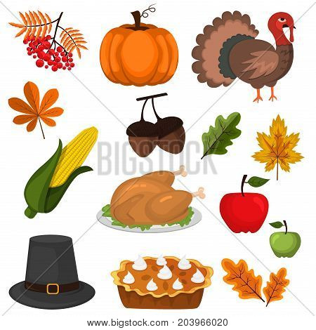 Happy Thanksgiving Celebration Design cartoon autumn greeting harvest season holiday icons vector illustration. Traditional food dinner seasonal thanks giving poster.