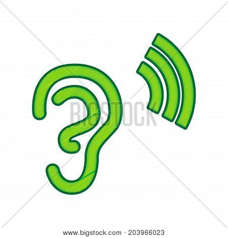 Human anatomy. Ear sign with soundwave. Vector. Lemon scribble icon on white background. Isolated