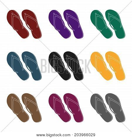 Green flip-flops icon in black design isolated on white background. Brazil country symbol stock vector illustration.