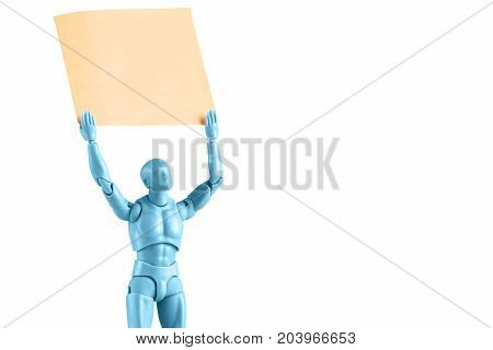 Blue male figurine closeup holding up empty paper note isolated on white with copy space