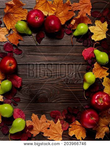 Flat lay frame of autumn crimson and yellow leaves pears and apples on a dark wooden background. Selective focus.