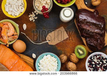 Assortment of healthy food. Natural sources of phosphorus - P. Products good for diet. Space for text