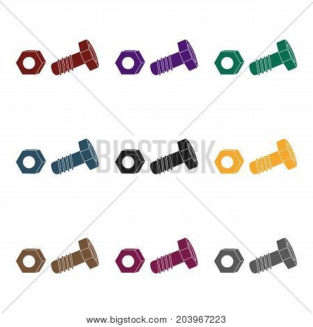 Structural bolt and hex nut icon in black style isolated on white background. Build and repair symbol vector illustration.