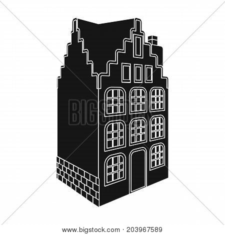 Traditional Scandinavian building. Architecture of the house single icon in black style vector symbol stock illustration .