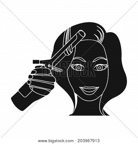 Hair curling in the hairdresser. Curling Hair single icon in black style vector symbol stock illustration .