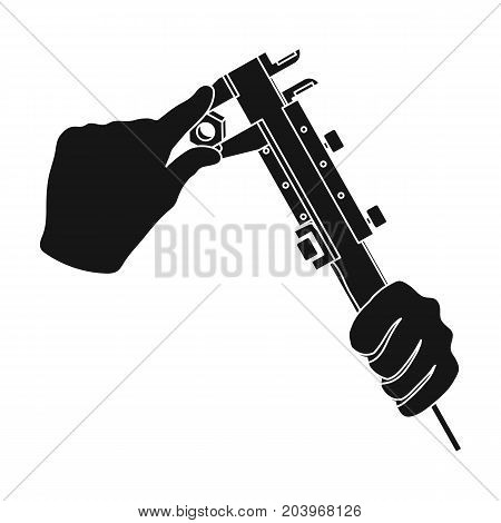Manipulation with calipers. Measuring instrument, caliper single icon in black style vector symbol stock illustration .