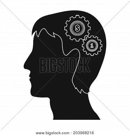 The head of a man with gears. The generator of ideas and thoughts single icon in black style vector symbol stock illustration .