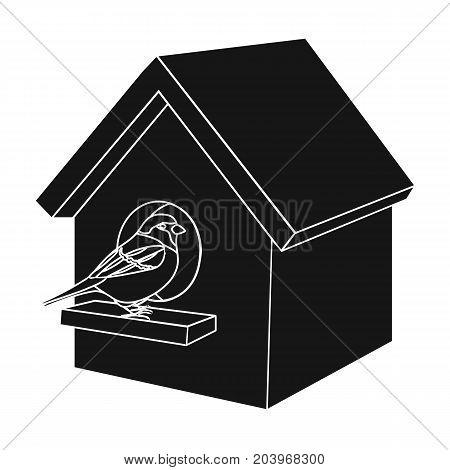 Birdhouse, single icon in black style.Birdhouse, vector symbol stock illustration .