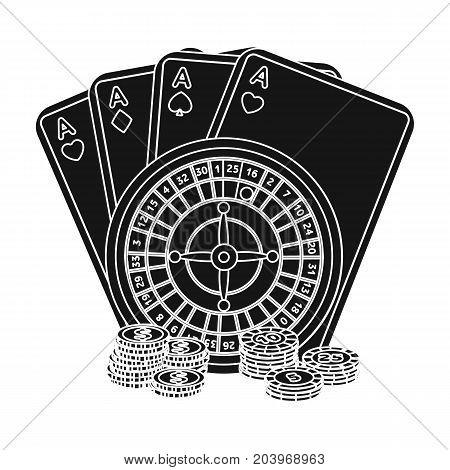 Casino, single icon in black style.Casino vector symbol stock illustration .