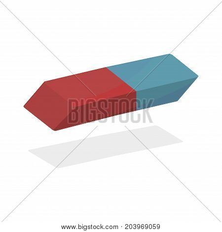 Blue Orange Rubber Eraser Realistic Vector. eraser for a pencil realistic on a white background.
