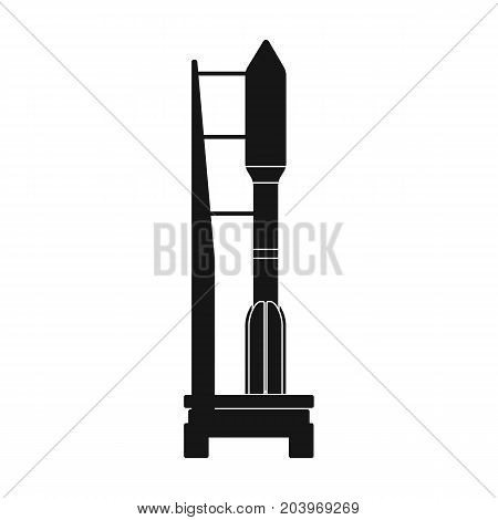 Space launch vehicle at launch. Space technology single icon in black style vector symbol stock illustration .