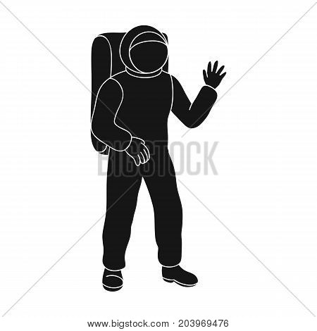 Cosmic space suit. Space technology single icon in black style vector symbol stock illustration .