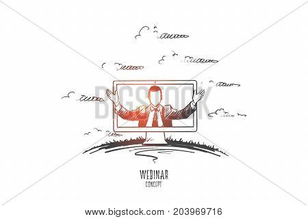 Webinar concept. Hand drawn man teaching through internet. Online seminar isolated vector illustration.