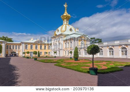 ST.PETERSBURG/RUSSIA - JULY 25, 2017. The building of the palace complex of the State Museum-Reserve Peterhof - the most famous tourist place in the suburbs of St. Petersburg