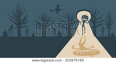 Zombie with pumpkin head silhouette comes into the house through keyhole from night cemetery. Shadows in dark room. Halloween theme background. Flying witch