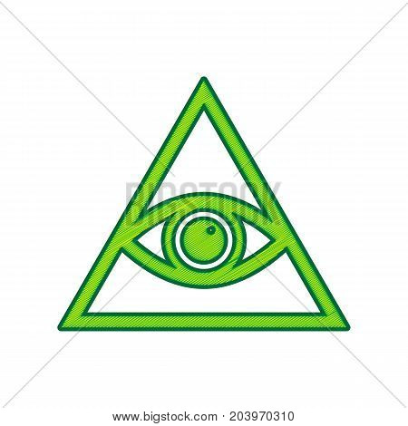 All seeing eye pyramid symbol. Freemason and spiritual. Vector. Lemon scribble icon on white background. Isolated